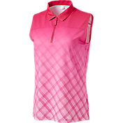 Lady Hagen Women's Sunset Collection Ombre Windowpane Sleeveless Polo