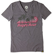 Life is Good Women's Happy Hour Palm Stripe Cool T-Shirt