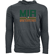 Levelwear Men's Miami Hurricanes Grey Long Sleeve Hooded T-Shirt