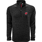 Levelwear Men's Wisconsin Badgers Grey Armour Quarter-Zip Shirt