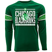 Levelwear Men's St. Patty's Day Chicago Blackhawks Green Long Sleeve T-Shirt