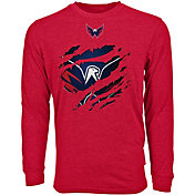 Levelwear Men's Washington Capitals Ripped Logo Red Long Sleeve T-Shirt