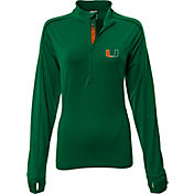 Levelwear Women's Miami Hurricanes Green Pacer Quarter-Zip