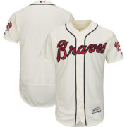 Majestic Men's Authentic Atlanta Braves Alternate Ivory Flex Base On-Field Jersey