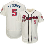 Majestic Men's Authentic Atlanta Braves Freddie Freeman #5 Alternate Ivory Flex Base On-Field Jersey