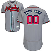 Majestic Men's Custom Authentic Atlanta Braves Flex Base Road Grey On-Field Jersey
