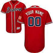 Majestic Men's Custom Authentic Atlanta Braves Flex Base Alternate Red On-Field Jersey