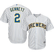 Majestic Men's Replica Milwaukee Brewers Scooter Gennett #2 Cool Base Alternate Pinstripe Jersey