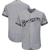Majestic Men's Authentic Milwaukee Brewers Road Grey Flex Base On-Field Jersey