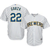 Majestic Men's Replica Milwaukee Brewers Matt Garza #22 Cool Base Alternate Pinstripe Jersey