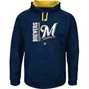 Majestic Men's Milwaukee Brewers Therma Base On-Field Navy Authentic Collection Pullover Hoodie