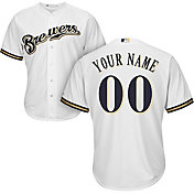 Majestic Men's Custom Cool Base Replica Milwaukee Brewers Home White Jersey