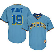 Majestic Men's Replica Milwaukee Brewers Robin Yount Cool Base Light Blue Cooperstown Jersey