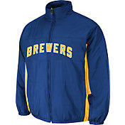 Majestic Men's Milwaukee Brewers Double Climate On-Field Royal Jacket