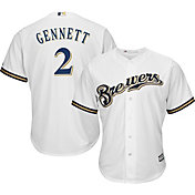 Majestic Men's Replica Milwaukee Brewers Scooter Gennett #2 Cool Base Home White Jersey