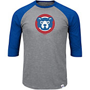 Majestic Men's Chicago Cubs Cooperstown Grey/Royal Raglan Three-Quarter Sleeve Shirt