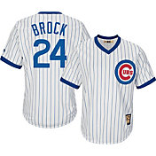 Majestic Men's Replica Chicago Cubs Lou Brock Cool Base White Cooperstown Jersey