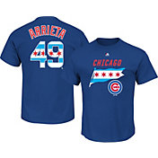Majestic Men's Chicago Cubs Jake Arrieta #49 Royal State Flag T-Shirt