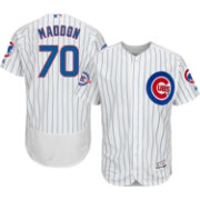 Majestic Men's Authentic Chicago Cubs Joe Maddon #70 Home White Flex Base On-Field Jersey w/ Wrigley Field Patch