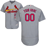Majestic Men's Custom Authentic St. Louis Cardinals Flex Base Road Grey On-Field Jersey