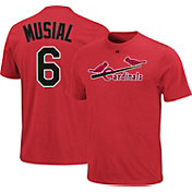 Majestic Triple Peak Men's St. Louis Cardinals Stan Musial Red Cooperstown T-Shirt