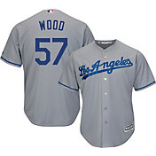 Majestic Men's Replica Los Angeles Dodgers Alex Wood #57 Cool Base Road Grey Jersey
