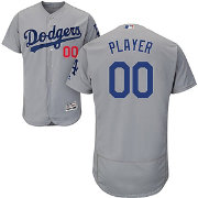 Majestic Men's Full Roster Authentic Los Angeles Dodgers Flex Base Alternate Road Grey On-Field Jersey