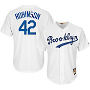 Majestic Men's Replica Brooklyn Dodgers Jackie Robinson Cool Base White Cooperstown Jersey