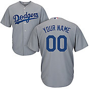 Majestic Men's Custom Cool Base Replica Los Angeles Dodgers Alternate Road Grey Jersey