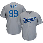 Majestic Men's Replica Los Angeles Dodgers Hyun-jin Ryu #99 Cool Base Alternate Road Grey Jersey