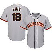 Majestic Men's Replica San Francisco Giants Matt Cain #18 Cool Base Road Grey Jersey