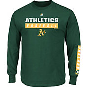 Majestic Men's Oakland Athletics Proven Pastime Green Long Sleeve Shirt