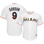 Majestic Men's Replica Miami Marlins Dee Gordon #9 Cool Base Home White Jersey