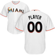 Majestic Men's Full Roster Cool Base Replica Miami Marlins Home White Jersey