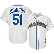 Majestic Men's Replica Seattle Mariners Randy Johnson Cool Base White Cooperstown Jersey