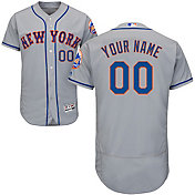 Majestic Men's Custom Authentic New York Mets Flex Base Road Grey On-Field Jersey
