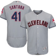 Majestic Men's Authentic Cleveland Indians Carlos Santana #41 Road Grey Flex Base On-Field Jersey