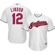 Majestic Men's Replica Cleveland Indians Francisco Lindor #12 Cool Base Home White Jersey