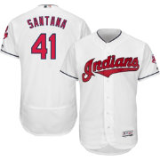 Majestic Men's Authentic Cleveland Indians Carlos Santana #41 Home White Flex Base On-Field Jersey