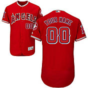 Majestic Men's Custom Authentic Los Angeles Angels Flex Base Alternate Red On-Field Jersey
