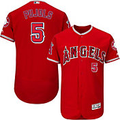 Majestic Men's Authentic Los Angeles Angels Albert Pujols #5 Alternate Red Flex Base On-Field Jersey