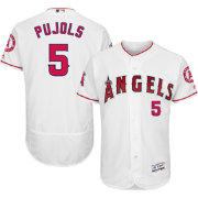 Majestic Men's Authentic Los Angeles Angels Albert Pujols #5 Home White Flex Base On-Field Jersey