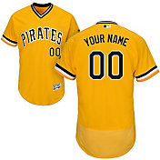 Majestic Men's Custom Authentic Pittsburgh Pirates Flex Base Alternate Gold On-Field Jersey