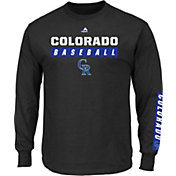 Majestic Men's Colorado Rockies Proven Pastime Black Long Sleeve Shirt