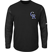 Majestic Men's Colorado Rockies Therma Base Black Authentic Collection Pullover Tech Fleece