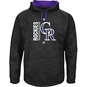 Majestic Men's Colorado Rockies Therma Base On-Field Black Authentic Collection Pullover Hoodie