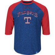 Majestic Men's Texas Rangers Cooperstown Royal Raglan Three-Quarter Sleeve Shirt