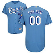 Majestic Men's Custom Authentic Kansas City Royals Flex Base Alternate Light Blue On-Field Jersey