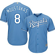Majestic Men's Replica Kansas City Royals Mike Moustakas #8 Cool Base Alternate Light Blue Jersey