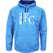 Majestic Men's Kansas City Royals Therma Base On-Field Light Blue Authentic Collection Pullover Hoodie